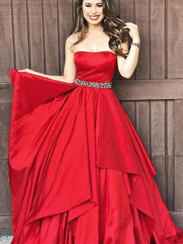 Strapless Red Satin Prom Dresses, Beaded Prom Dresses, Long Prom Dresses