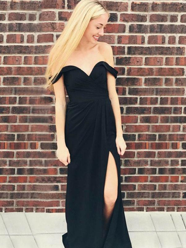 Black Off Shoulder Prom Dresses, Side Slit Prom Dresses, Long Prom Dresses