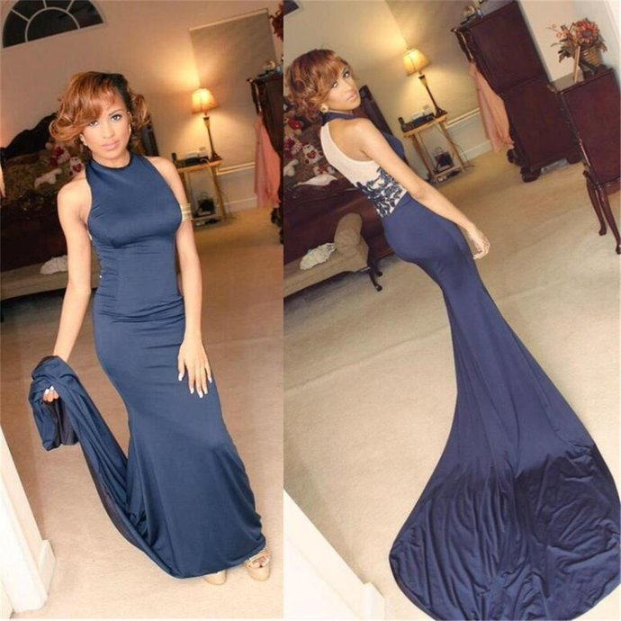 High Neck Prom Dresses, Blue Prom Dresses, Sexy Mermaid Prom Dresses, Party