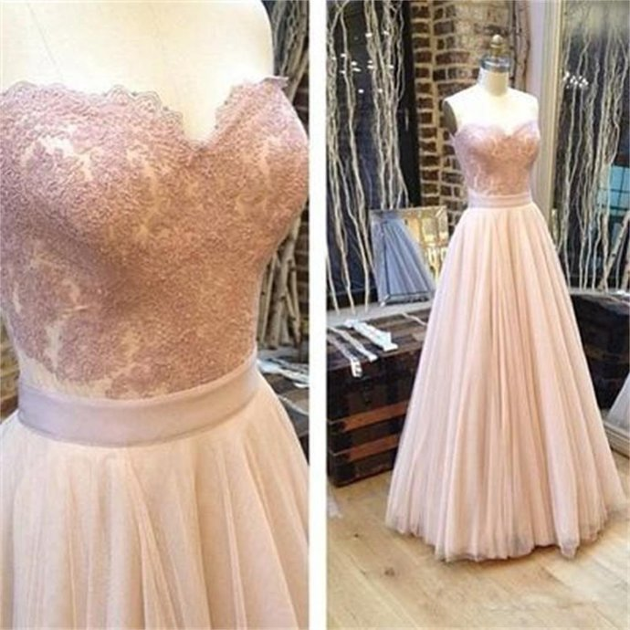 Sweetheart A-line Tulle Prom Dresses, Charming Lace Prom Evening Dresses,Long