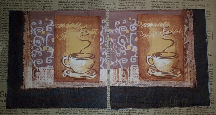 N151 Paper Napkins (Pack of 2) Coffee Brown Steam Flourish Vintage Looking