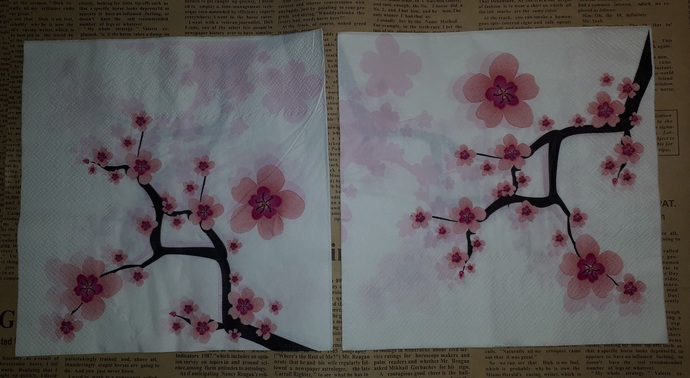 N155 Paper Napkins (Pack of 2) Pink Flower Blossoms, Chinese,  Flowers