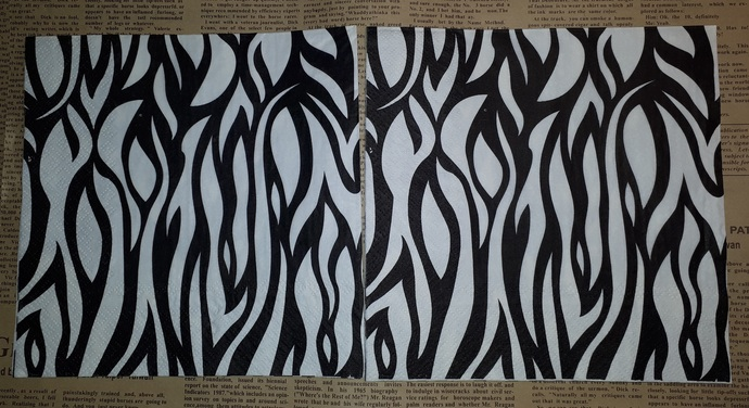 N156 Paper Napkins (Pack of 2) Black and White Zebra Print, Safari, Abstract