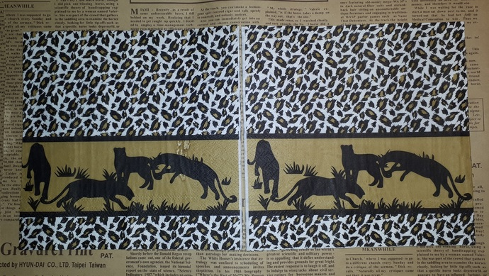 N157 Paper Napkins (Pack of 2) African Lepold Print Shilloutte