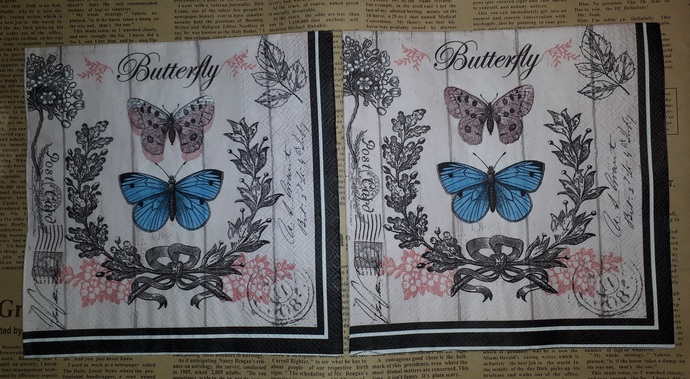 N162 Paper Napkins (Pack of 2) Blue Butterfly, Postage Stamp, Flourishes