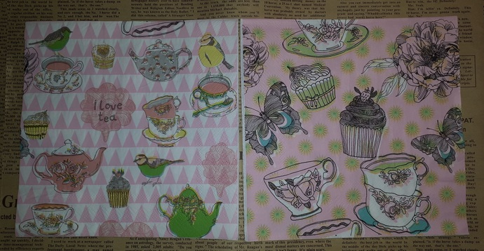 N163 Paper Napkins (Pack of 2) Decorative Cups, Cupcakes, Butterfly Pastel