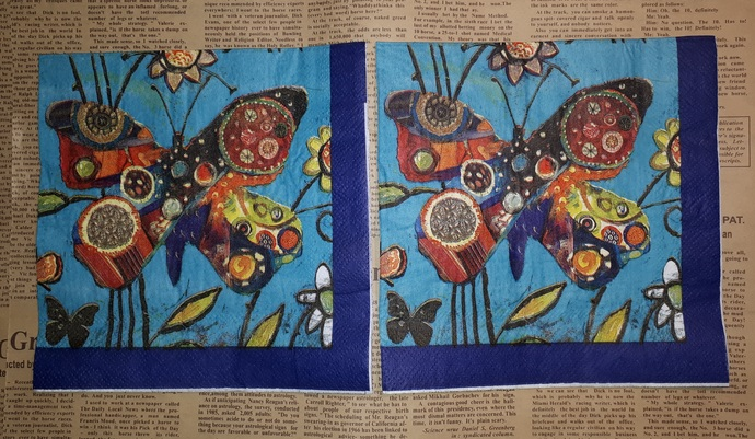 N164 Paper Napkins (Pack of 2) Patchwork Butterfly Bright Colours Boho Blue