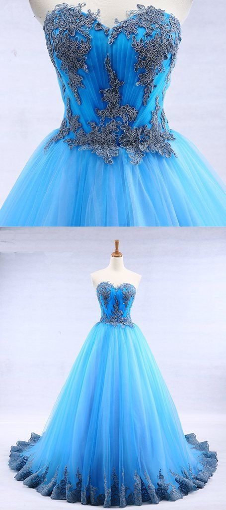 Bright blue tulle sweetheart neck long strapless a line senior prom dress with