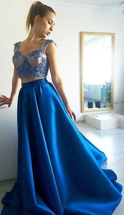 9bd93d52941bd Beautiful Blue Two Piece Prom Dress, Cap Sleeves Formal Gown With Beaded  Crop