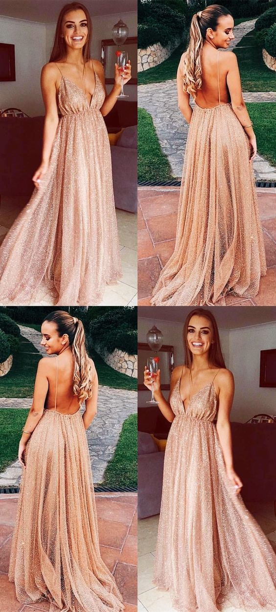 aa999b2a2055 Sexy Backless Spaghetti Straps Prom Dress with Sequins Long Champagne  Evening