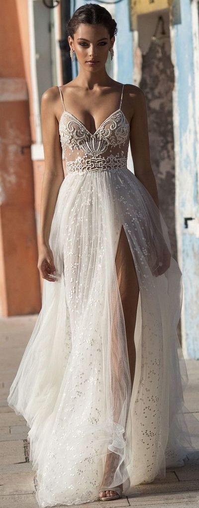 2019 Beach Wedding Dresses Side Split Spaghetti By Meetbeauty On