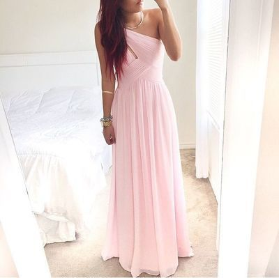 Pretty Pink One Shoulder Simple Prom Dress With By Prettylady On