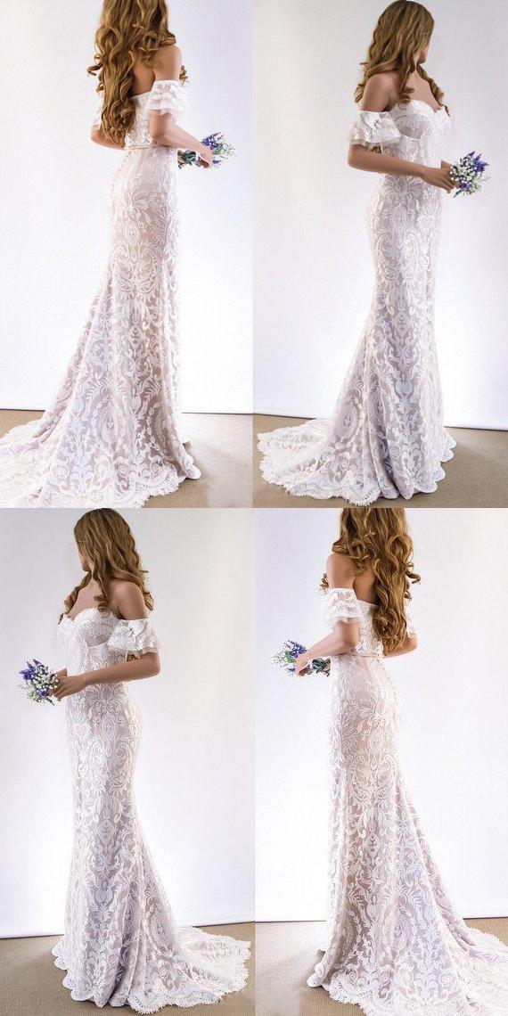 Lace Wedding Dresses Sheath Off-the-shoulder Short Sleeve Romantic Beach Bridal