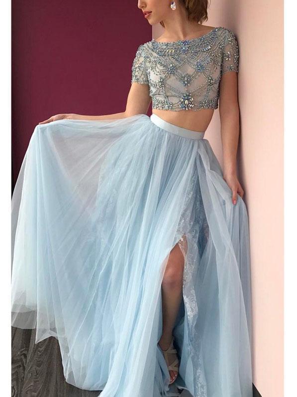 d400e76ae Round Neck Short Sleeve Light Blue Tulle Beaded Prom Dresses, Lace  Rhinestone