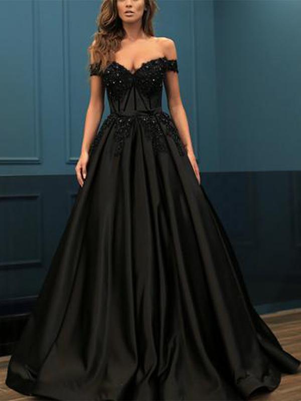 31678e7ce3 Off Shoulder Long A-line Black Satin Lace Beaded by DRESS on Zibbet
