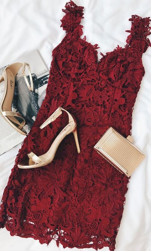 A Line Lace Cute Prom Dress, Burgundy Short Party Dress, 2019 Prom Gowns