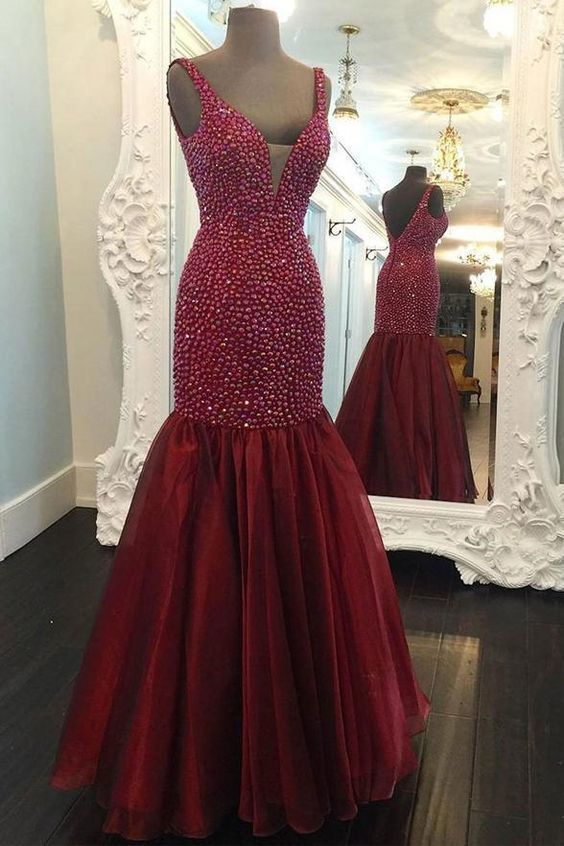 3cce2a5124fd0 Chic V Neck Burgundy Mermaid Rhinestones Prom Dresses Evening Dress Party  Gowns