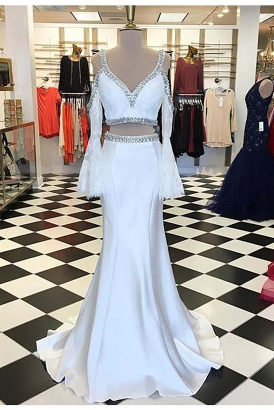 6fa158ca3b93 Long two pieces off-shoulder lace long sleeves white satin prom dresses