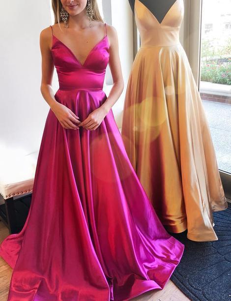 Simple V-neck A-line Long Prom Dress Fashion Winter Formal Dress Popular Wedding