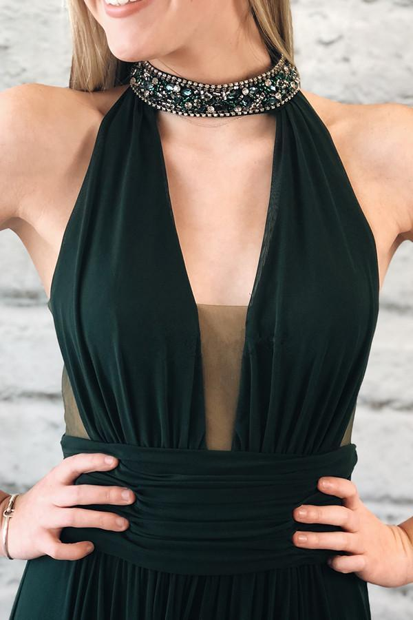 Dark Green High Neck Beaded Side Slit Prom Dresses