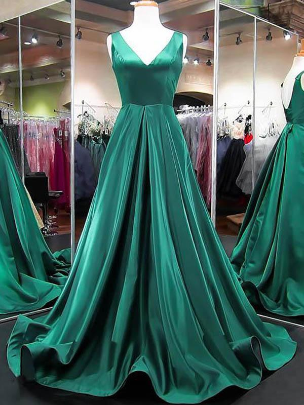 Emerald Green V-neck Long A-line Satin Prom Dresses