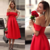Elegant Red Satin Prom Dress, Tea Length Homecoming Dress, 2019 Party Dress