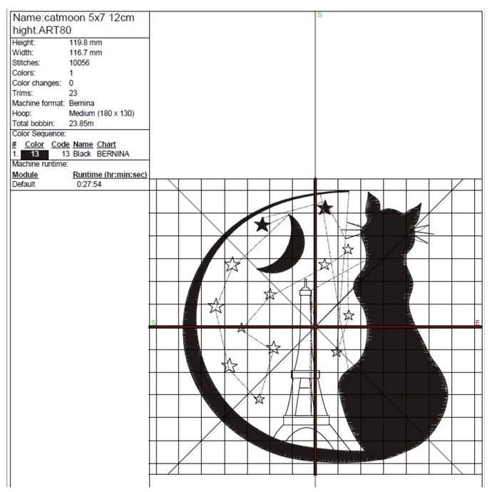 Paris embroidery design  Eiffel towel moon machine designs pes files cat digital