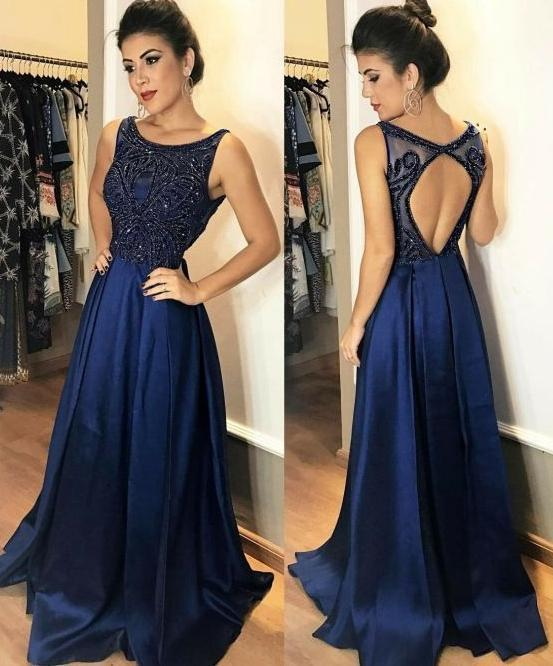5c4a1ad18f2 Fashion Open Back Floor Length Prom Dress With Beading Semi Formal Dresses