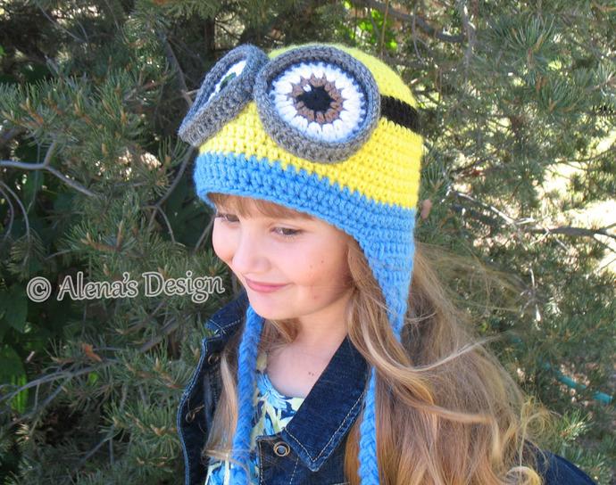 Crochet Pattern 200 Crochet Hat Pattern Minion Hat Ear Flap Hat Crochet Patterns