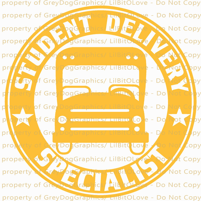 Full Sized Round Student Delivery Specialist Vinyl Decal Sticker Bus Driver
