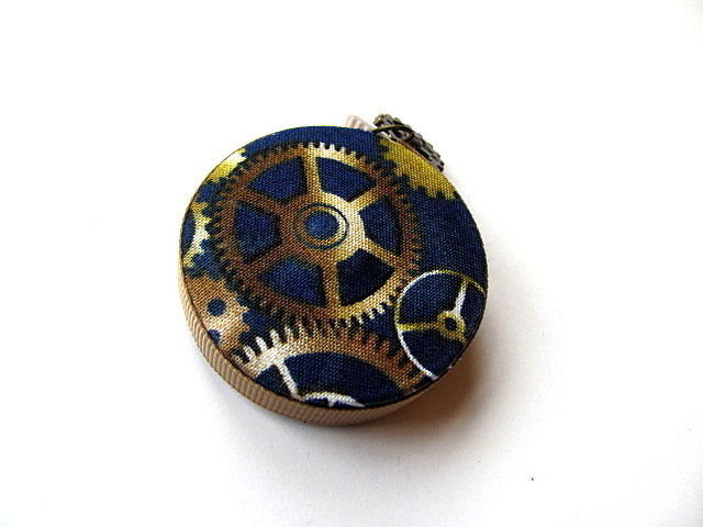 Tape Measure Blue Steampunk Gears Retractable Measuring Tape