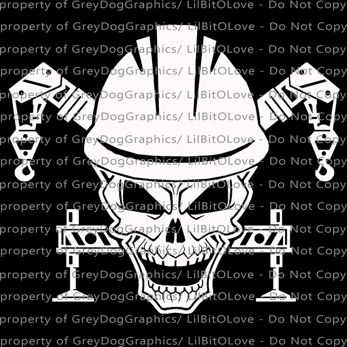 Skull Decal featuring Crane Operator Vinyl Decal Sticker Construction Worker