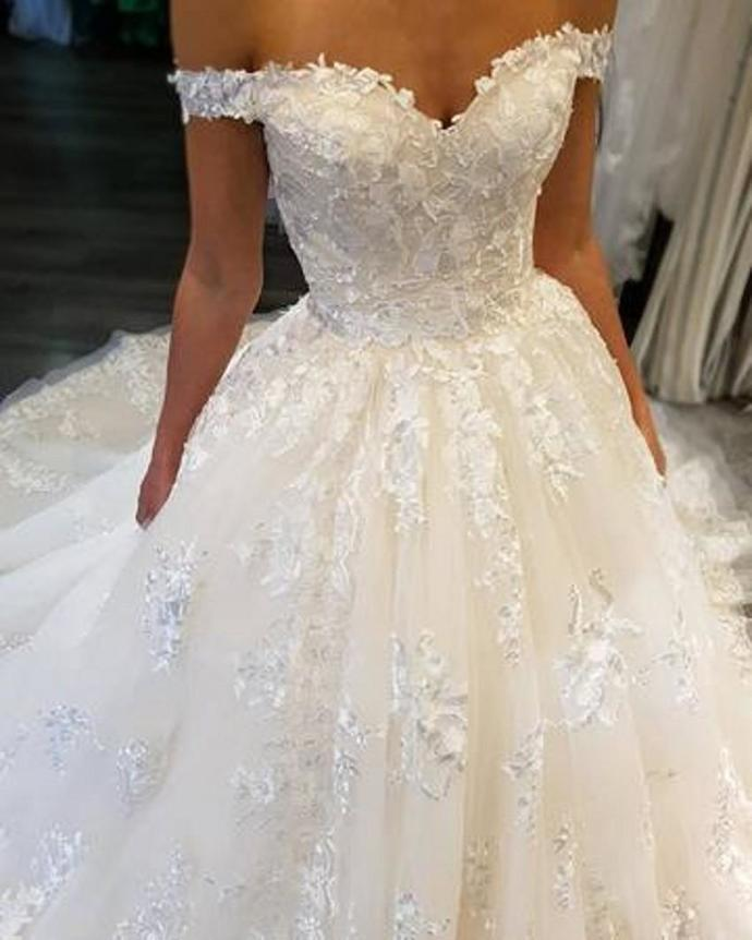 A Line Wedding Dresses.Off Shoulder Lace Wedding Dresses A Line Appliques Sweep Train Wedding Gowns Bridal Dresses Plus Size Lace Up Custom Made