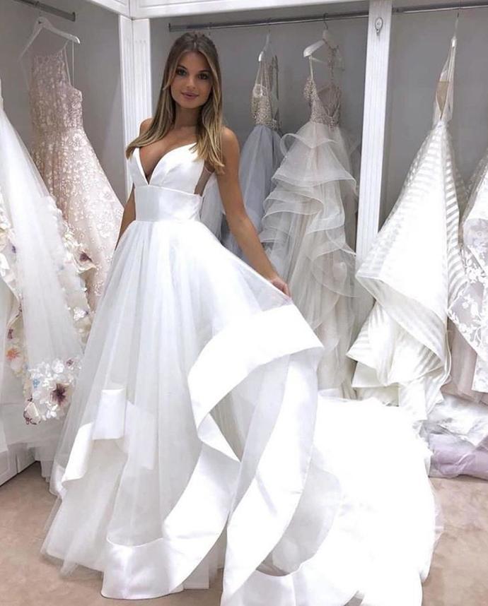 Wedding Dresses A Line Tiered Satin Organza Ruffles Deep V Neck Plus Size  Wedding Dresses Bridal Gowns Custom Made