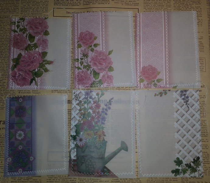 HM100 (Set of 6) Machine Stitched and Sewn Vellum Pockets Flowers Garden, Roses