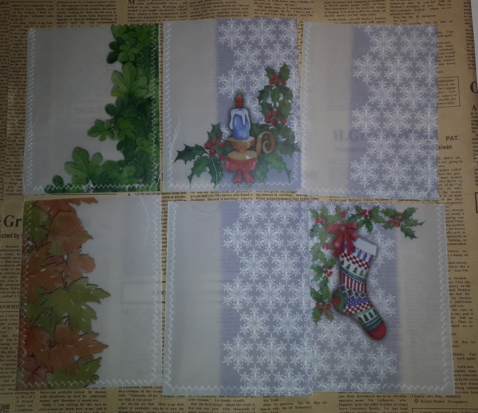 HM103 (Set of 6) Machine Stitched and Sewn Vellum Pockets Christmas, Leaves