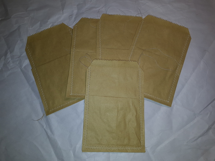 HM104 (2 Pieces) Machine Stitched Kraft Brown Paper Bags with Pocket White