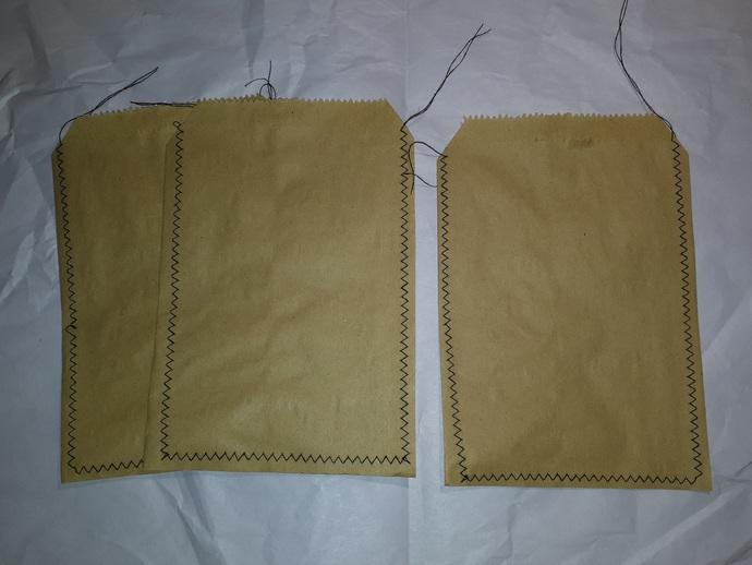 HM117 (2 Piece) Machine Stitched Kraft Brown Paper Bags Black Thread