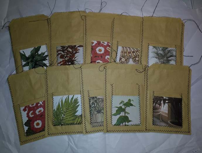 HM121 (1 Piece) Machine Stitched Kraft Paper Bag with Double Pocket Black Thread