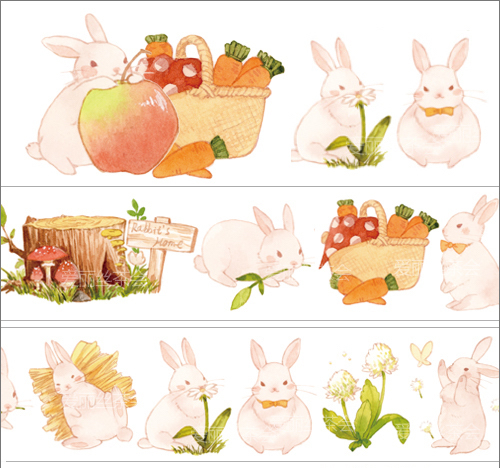 1 Roll Limited Edition Washi Tape: Adorable Rabbit