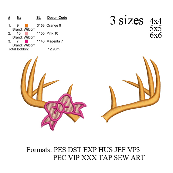 Deer antler with bow embroidery design,Deer antler embroidery pattern No 770...