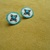 Native American Style Rosette beaded Little Stud/Post Earrings in Pearly White