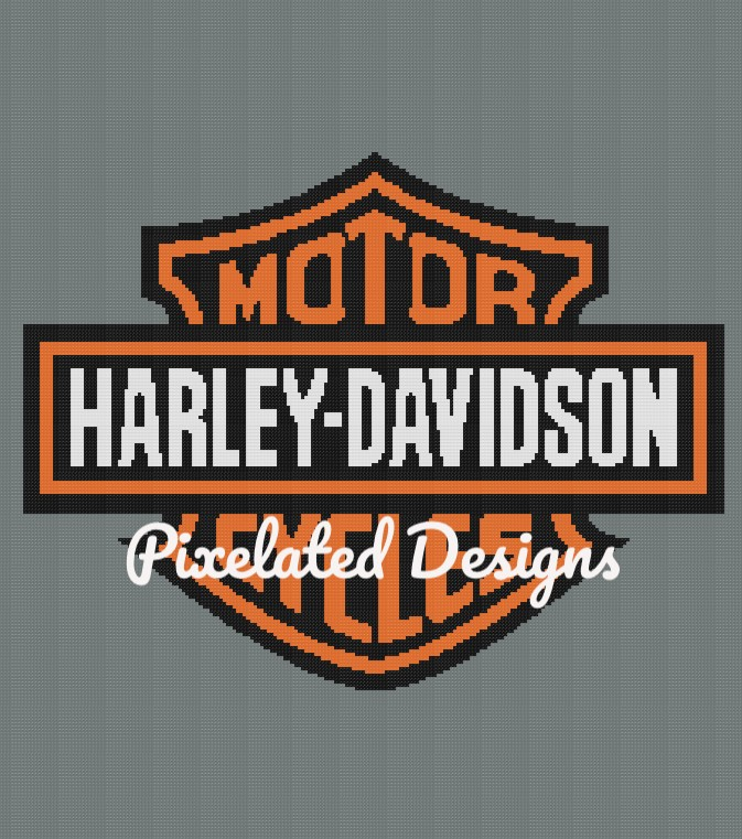 Harley Davidson Motor Cycles Pattern By Pixelated Designs On Zibbet