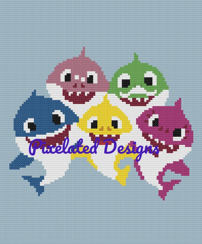 Baby Shark Pattern - SC - 100x120 - Graph w/Written - Full Version