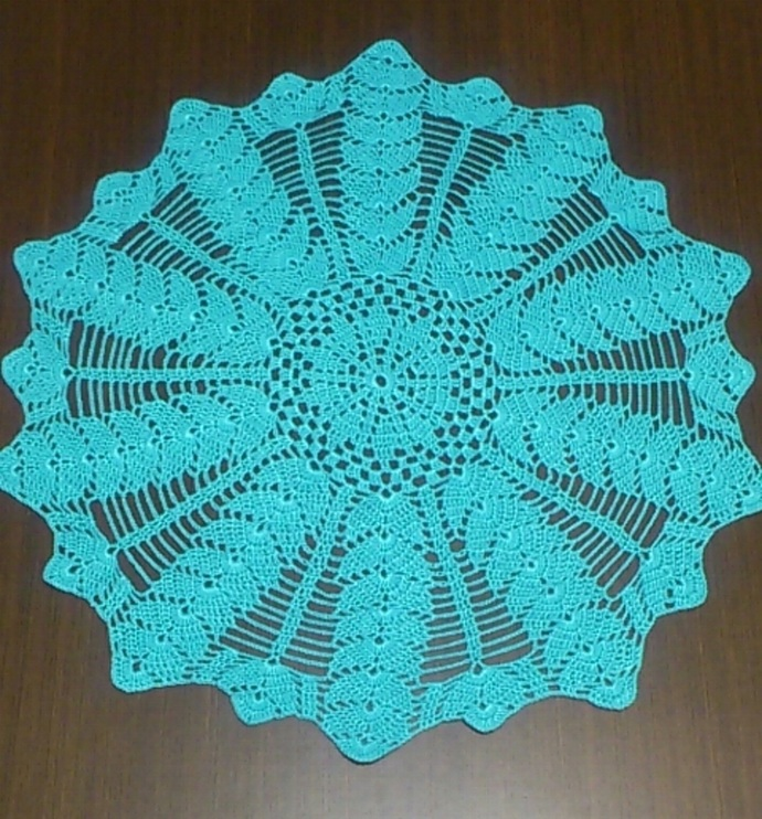"""Turquoise round doily, diameter 50 cm (19.70""""), 100% mercerized cotton, READY TO"""