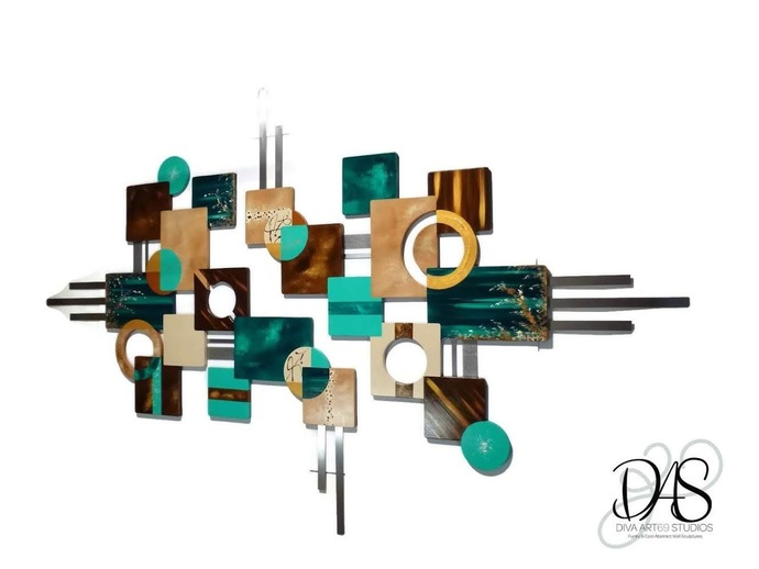 Beautiful Contemporary Peacock Teal and brown, geometric Abstract Wood and Metal