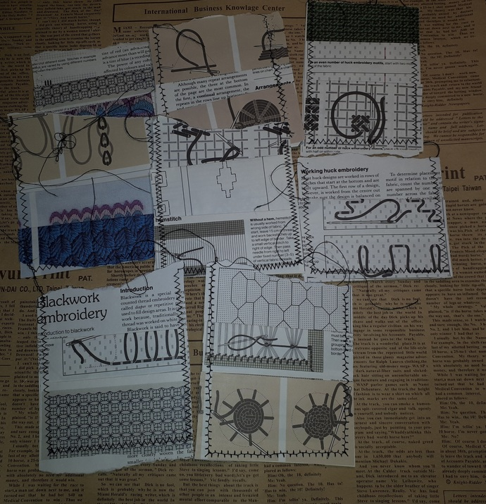 HM128 (2 Pieces) Machine Stitched Sweing themed Book Pages Small