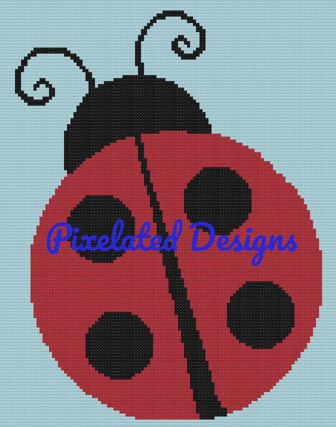 Ladybug Pattern - SC - 110x140 - Graph w/Written - Full Version