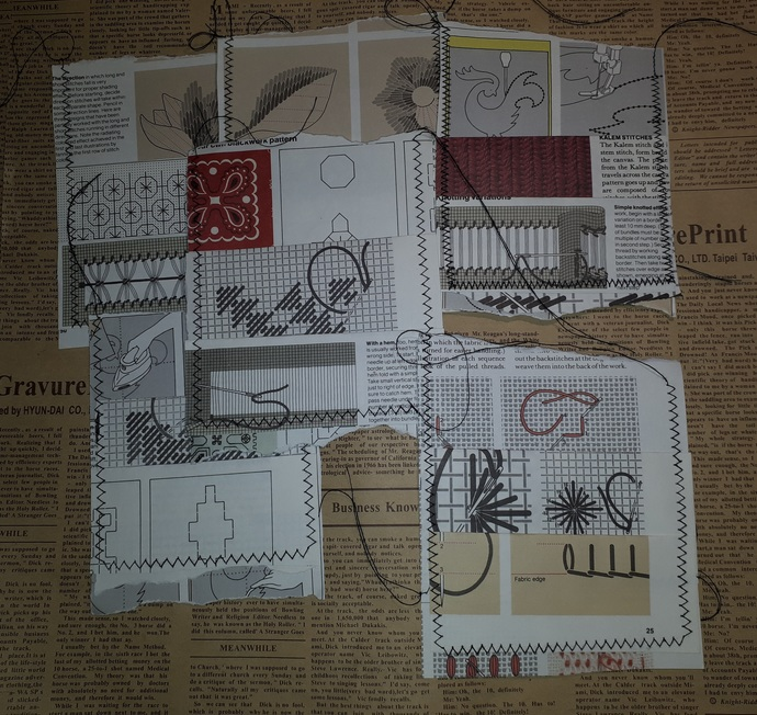 HM129 (2 Pieces) Machine Stitched Sewing Themed Book Page Pockets Large9