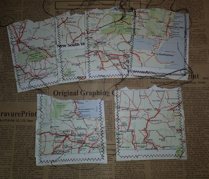 HM132 (2 Pieces) Machine Stitched Map Book Page Pockets
